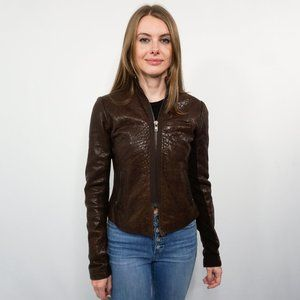 VEDA Brown Leather Zip-Up Jacket